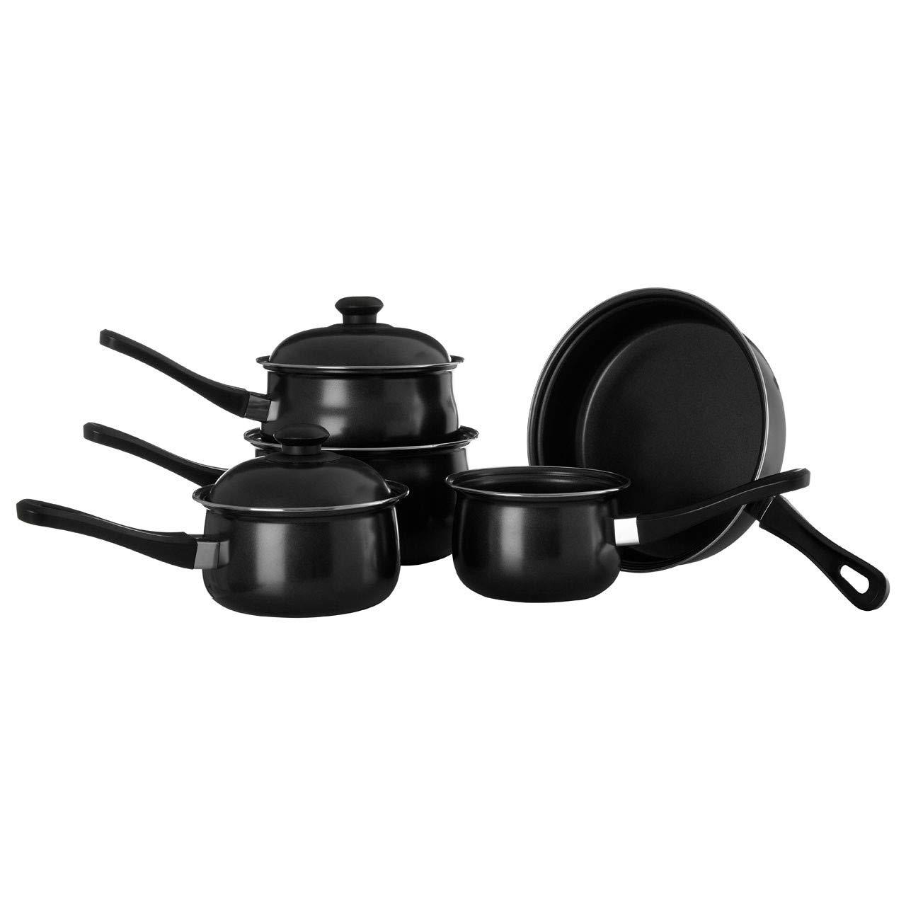 5 PC PIECES BLACK CARBON STEEL BAKELITE HANDLE KITCHEN COOKWARE NON STICK SAUCEPAN FRYING PAN MILK PANS SET WITH LID