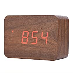 Fosa Wooden Electronic Digital Alarm Clock, LED Display Time Date And Temperature With Sounds Control Function And Adjustable Brightness Desk Alarm Clock Great for Kid, Home, Office, Daily Life(Brown)