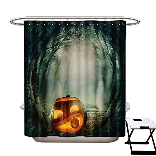 BlountDecor Halloween Shower Curtains Sets Bathroom Drawing of Scary Halloween Pumpkin Enchanted Forest Mystic Twilight Party Art Satin Fabric Sets Bathroom W69 x L70 Orange Teal