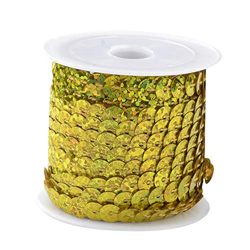 arricraft 25 Rolls Laser Gold Flat Round Spangle Sequin Paillette Beads Trim Spool String Ornament Accessories, About 6mm(1/4 inch) Wide