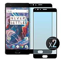 2 x OnePlus 3 /3T Full Screen (Black) Screen Protector, NEVEQ Premium Tempered Glass Screen Protector for OnePlus 3 (3T, Full Screen) Black (5.5) Display.