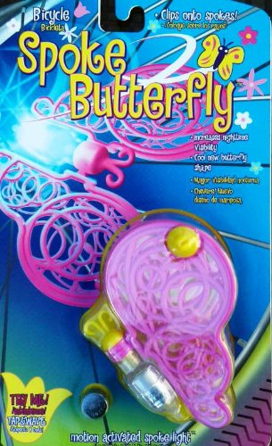Tireflys Butterfly Flashing Bicycle Spoke Light - Pink and Yellow