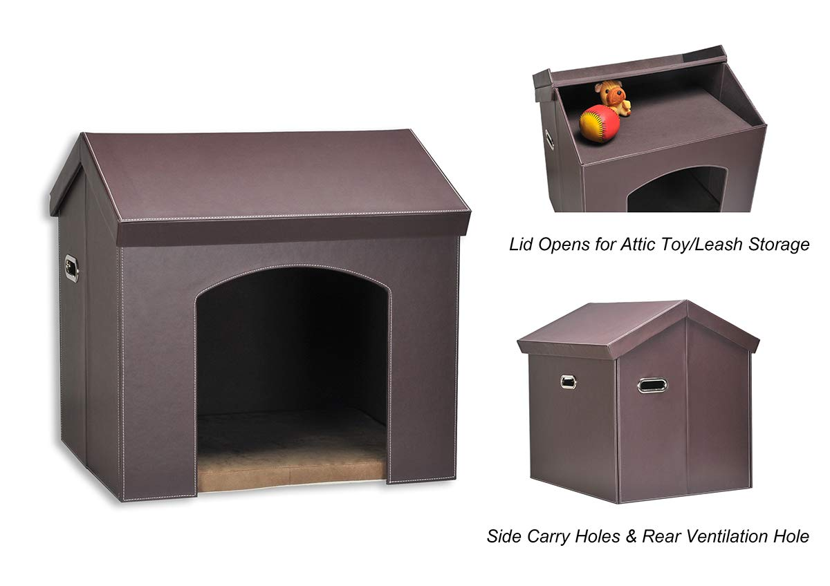 PAWLAND Collapsible Leather Pet Haven Indoor Dog House for Small Dogs,Cats, Folding Dog House with Toys Storage and Bed,Roof Opens, Brown