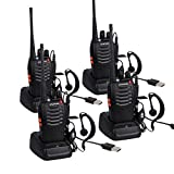 Walkie Talkies Long Range UHF 400-470Mhz Portable Handheld USB Charger Two Way Radio Built-In LED Flashlight for Adults (4 Pack)
