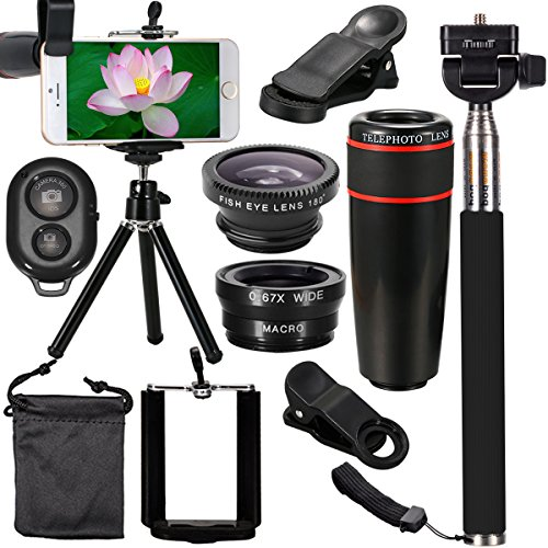 XCSOURCE 10 in 1 Mini Lens Kit 8 x Telephoto Lens + Fish Eye Lens + Wide Angle + Macro Lens Selfie Stick + BT Remote Control + Mini Tripod for iPhone 5 6 7 Galaxy S5 S6 Edge Note 2 3 4 HTC LG by XCSOURCE