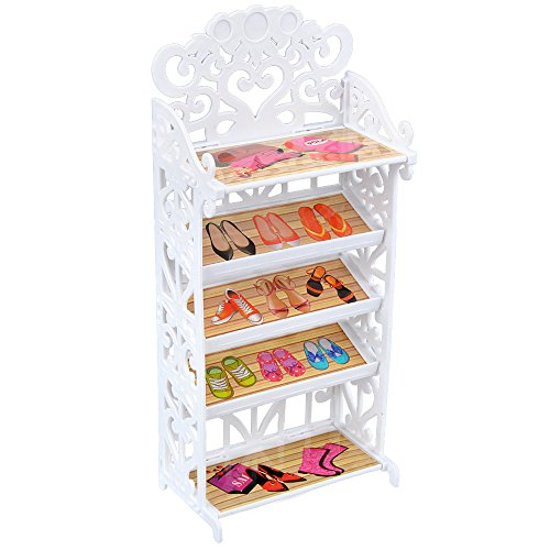 E-TING Doll Shoes Rack Shoes Shelf Cupboard Accessory with 20 Pairs High Heel Shoes Boots for Girl Doll Playset Accessories