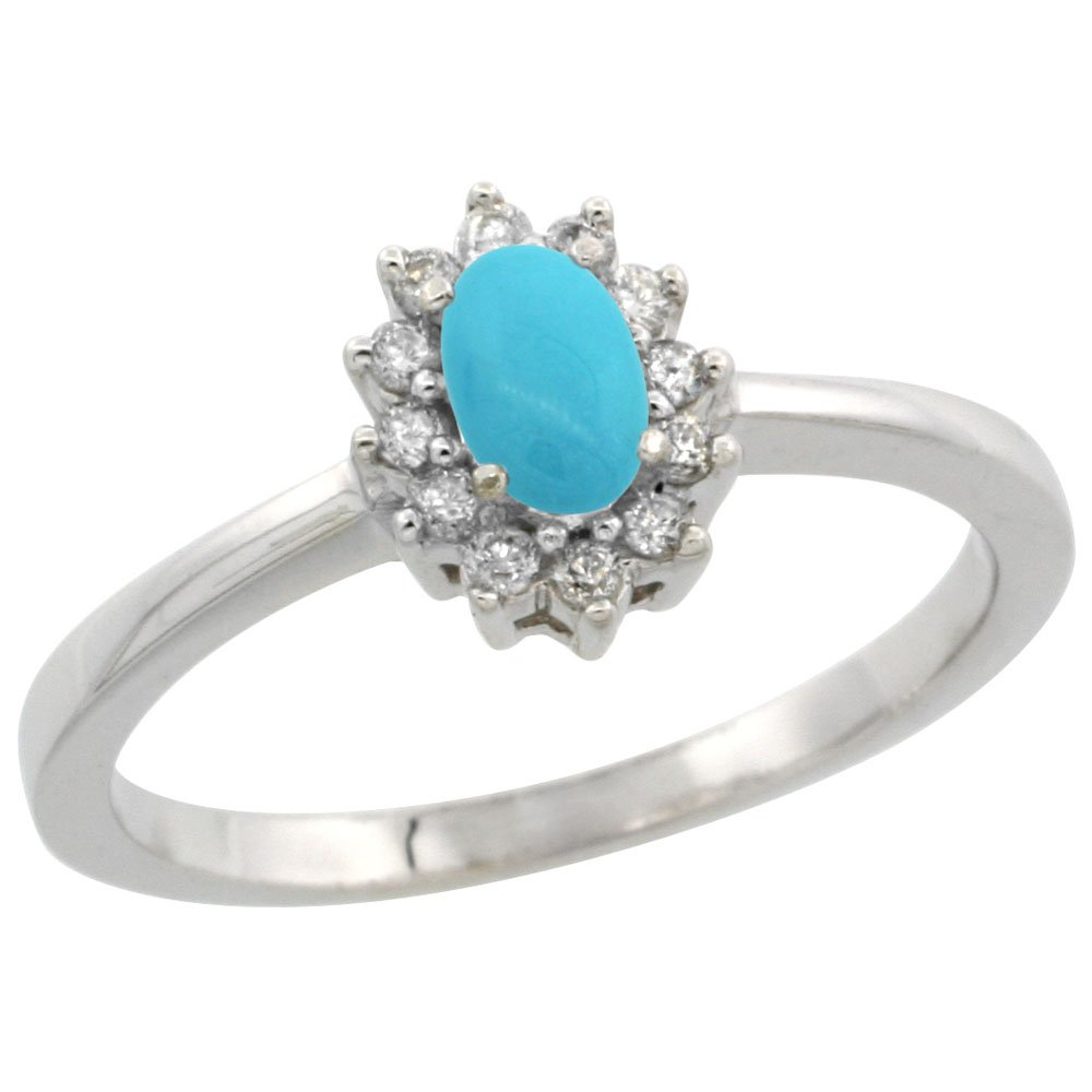 14K White Gold Natural Turquoise Ring Oval 5x3mm Diamond Halo, size 8