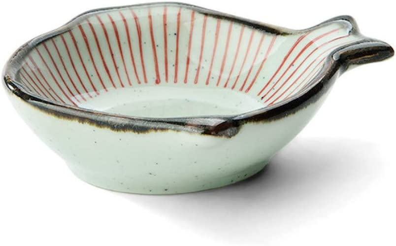 Ceramic Dipping Sauce Dishes Red Striped Fish Shaped Condiment Dishes Vinegar Salad Soy Sauce Wasabi Seasoning Dishes