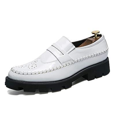 Amazon Cordones Planos De Hombre Sevenzai Zapatos es Charol Con xTHnUZzqZO