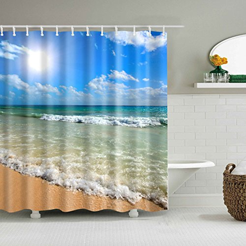 - Free Walker Beach Shower Curtain for Bathroom,Waterproof Polyester Fabric Vivid Ocean Theme Curtain with Sunshine and Wave,71x71Inches and 12 Hooks (Beach)