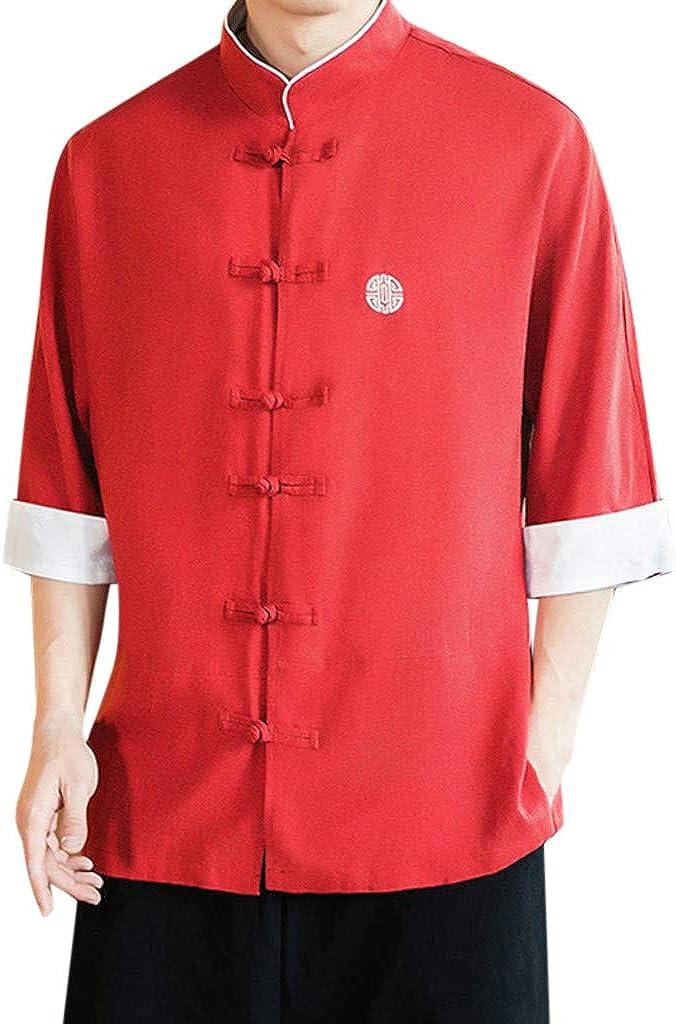 Gusspower Camiseta Retro Manga Corta para Hombre,Verano Tops de Algodón y Lino Color sólido Moda Casual Suelto T-Shirt Camisas Collar de pie con Hebilla Tallas Grandes Suave Camiseta Blusa