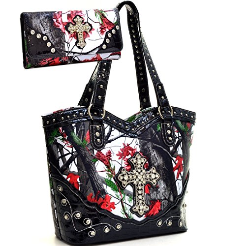 Western Camo Print Rhinestone Cross Studded Purse Handbag With Matching Wallet- Red/Multi Colors