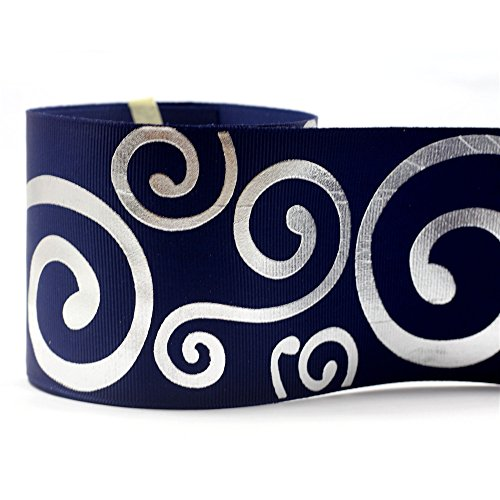 mdribbons Swirl Print Silver Foil Ribbon- 3 Inches (75mm) Wide 10 Yards Pack- Hair Bows & Crafts- DIY Crafting (Box,Flower,Party,Large Bow For Cheer Bows) Decoration Grosgrain Ribbon- Navy Color