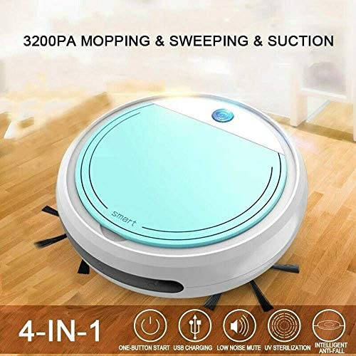 8bayfa Aspirateur Robot, Rechargeable Smart Home Robot Balayer, 4 en 1 3200Pa USB Smart Auto Balayer Sec Vadrouille Forte Aspiration Sweeper