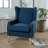 Rosella Studded Edge High Wingback Club Chair (Navy Blue)
