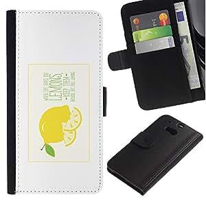 HTC One M8 , la tarjeta de Crédito Slots PU Funda de cuero Monedero caso cubierta de piel (When Life Gives You Lemons)