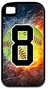 Flaming Softball Sports Fan Player Number 8 Black Rubber Hybrid Tough Case Decorative iphone 6 4.7 Case