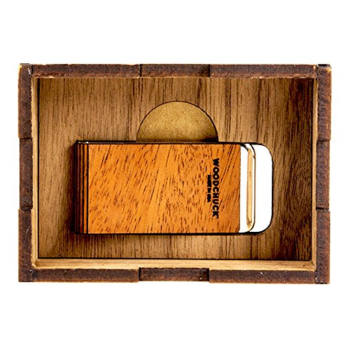 WOODCHUCK Wooden Money Clip (Mahogany), Handmade in the USA, 100% Real Wood - Stainless Steel Body