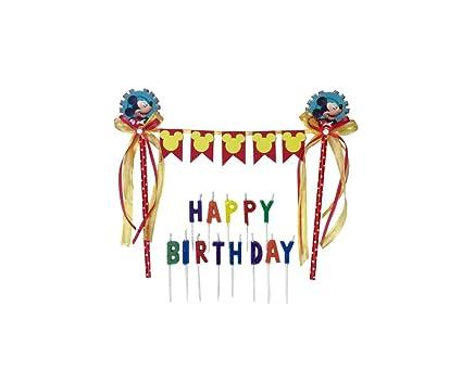 Amazon.com: Mickey Mouse Banner Feliz cumpleaños decoración ...