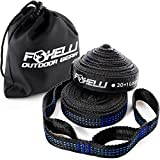 Foxelli Hammock Straps XL - Camping Hammock Tree Straps Set (2 Straps & Carrying Bag), 20 ft Long Combined, 40+2 Loops, 2000 LBS No-Stretch Heavy Duty Straps for Hammock, Compact & Easy to Set Up