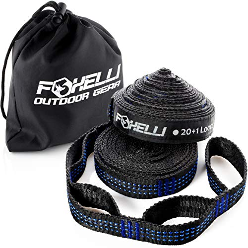 Foxelli Hammock Straps XL - Camping Hammock Tree Straps Set (2 Straps & Carrying Bag), 20 ft Long...