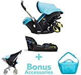 Doona Infant Car Seat and Latch Base – Turquoise (Sky) US Version with Bonus All in One Bag and Sunshade Extension