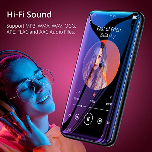 """TIMMKOO MP3 Player with Bluetooth, 4.0"""" Full TouchScreen Mp4 Mp3 Player with Speaker, 8GB Portable HiFi Sound Mp3 Music Player with FM Radio, Voice Recorder, E-book, Supports up to 128GB TF Card Black"""