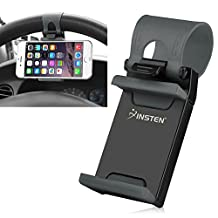 Insten Universal Phone Holder Mount Clip Buckle Socket Hands Free On Car Steering Wheel For Apple iPhone 7/ 6S/ 6,Galaxy On5/S7 Edge/ S7; LG G5 and Cell Phone Width:1.97-2.95 inches,Black/Gray