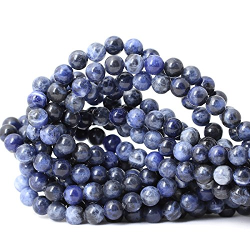 Qiwan 45PCS 8mm Blue Sodalite Natural Gemstone Loose Beads Round Crystal Energy Stone Healing Power for Jewelry Making 1 Strand 15