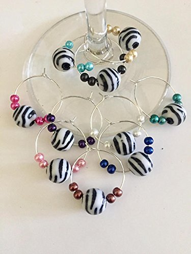 Zebra Striped Wine Glass Charms, Set of 10 Fun Wine Glass Charms