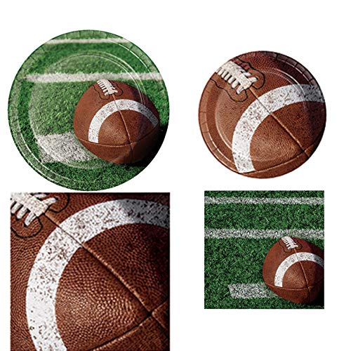 Football Tailgate Rush Disposable Paper Party Supplies 16 Dinner and Snack Plates, 16 Lunch and Beverage Napkins and Gma…