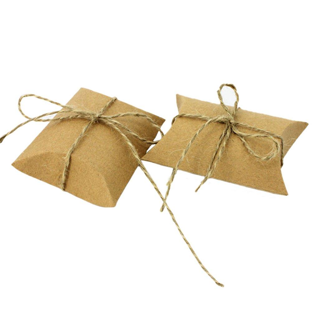 Milopon 50x Boîtes de Bonbon en Papier Kraft avec Cordon Naturel Bonbonnière Cadeaux Sac Bonbon pour Anniversaire Mariage Candybar