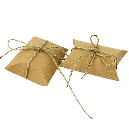Leisial™ 50pcs Caja de Papel Vintage con Cuerda de Yute Dulces Chocolates Almohada Cajas de