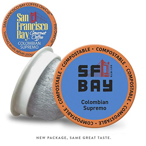 SF Bay Coffee Colombian Supremo 120 Ct Medium Roast Compostable Coffee Pods, K Cup Compatible including Keurig 2.0 (Packaging May Vary)
