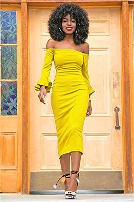 Molisry Women Off Shoulder Ruffle Long Sleeve Bodycon Party Midi Dress