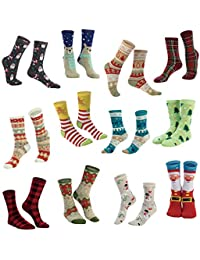 12 Pairs Crew Christmas Holiday Socks for Winter Christmas, Holiday or Birthday Gift