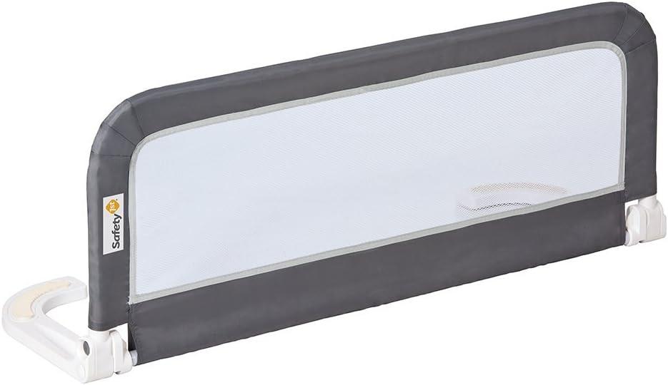 Safety 1st Barrera de cama portátil y extensible hasta 156 cm, Barandilla cama plegable, color Gris