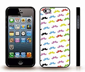 Case For Iphone 5/5S Cover with Colorful Mustaches Background Design , Snap-on Cover, Hard Carrying Case (Black)