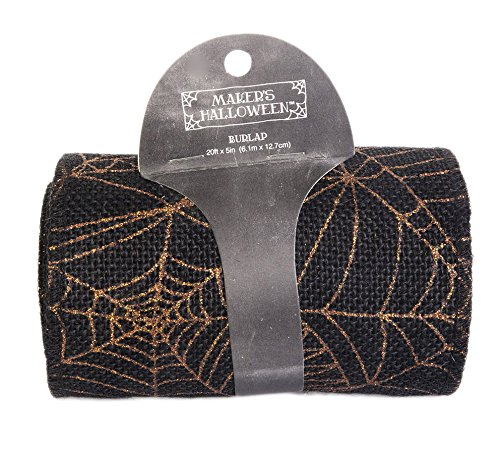 Maker's Halloween Burlap Ribbon 5''x20'-Metallic Orange Spider Web ()
