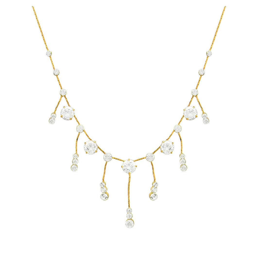 Glamorousky Gleaming Necklace with Silver Austrian Element Crystals 5473