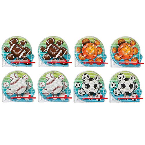 Kidsco Mini Sports Pinball Games 2 Inches - Pack of 8 Assorted Colored Sports Balls Pictures - Mini Pinball Bagatelle Game - for Kids Great Party Favors, Bag Stuffers, Fun, Toy, Gift, Prize