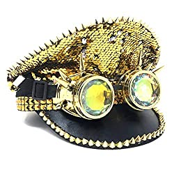 Gold Rhinestone/Sequins Steampunk Style Hat with Goggles