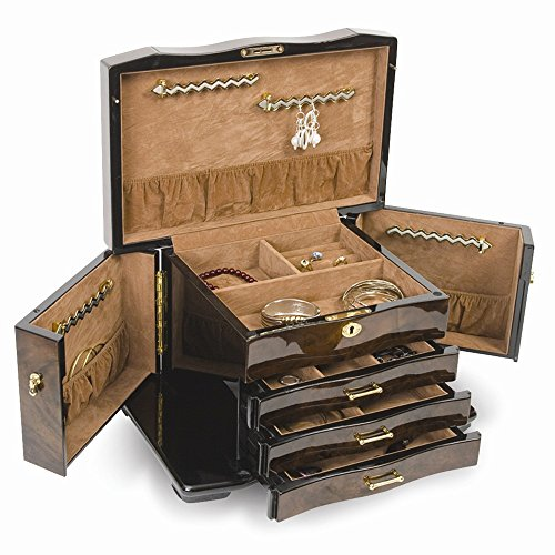 Walnut Burl Inlay 3 Drawer with Swing-out Sides Jewelry Box