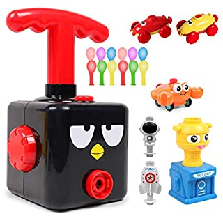 Balloon Powered Launch Car, Balloon Air Powered Vehicle Set, Balloon Race Car Toy Creative Inflatable Balloon Pump Car, STEM Toys Gift for Kids with 12 Balloons (Black Bird)