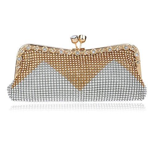 borsa Borsa Argento diamanti sera Vendo tempestata colore rosa banchetti da cerimonia da di per Borsa sera da sera SRqYdw