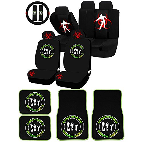 UAA 26pc Zombie Outbreak Response Vehicle Universal Seat Covers & Carpet mat Set ()