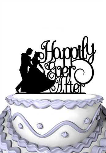 Meijiafei Wedding Cake Topper - Humble Girl Happily Ever After for Anniversary Party Cake Decoration -