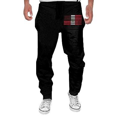 Yecx-1 Mens American Flag Farming Casual Cotton,Running Beam Trousers