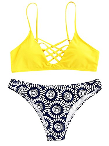 Womens Bathing Suit Adjustable Spaghetti Strap Floral Print Criss Cross Bikini Set