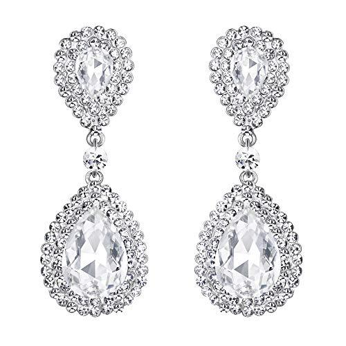 BriLove Silver-Tone Dangle Earrings Women's Wedding Bridal Fashion Crystal Teardrop Infinity Earrings Clear